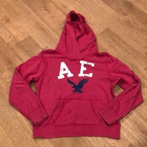 XL American Eagle Hoodie, Hot Pink w/Navy & White